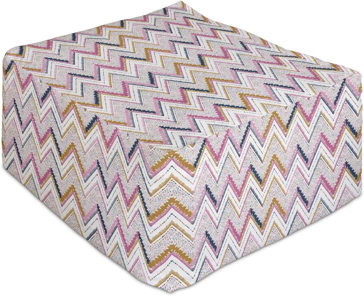 Ambesonne Colorful Rectangle Daily bargain sale Pouf Geometrical 2021 model Ornament Abstract