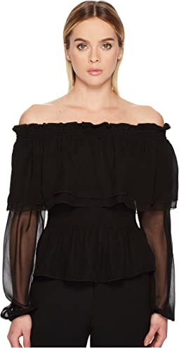 Chiffon Off the Shoulder Long Sleeve Top