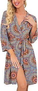 Sponsored Ad - PrinStory Women Kimono Robes Short Lightweight Robe Soft Knit Sleepwear Casual Knit Bathrobe Ladies Loungewear