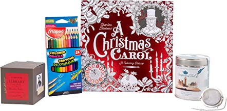 Always Moore Perfect Charles Dickens Classic Set – A Christmas Carol Coloring Book with Triangular Colored Pencils, Dickens Candle, and Dickens Tea with Small Tea Infuser Ball