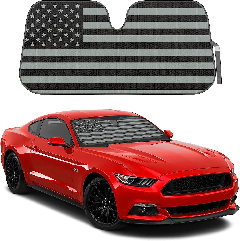 Patriotic Monochrome USA Flag Front Windshield Sunshade- Double Bubble Accordion Folding Auto Shade for Car Truck SUV-Blocks UV Rays Sun Visor Protector-58 x 27 Inch