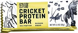 Exo Cricket Flour Protein Bars, Banana Bread, 12Count, 10g Protein, Paleo Friendly, Gluten-free, High Fiber, Dairy Free Energy Bars