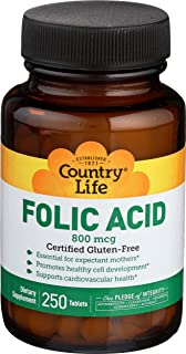 Country Life Folic Acid 800 mcg, 250-Count