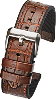 Genuine alligator grain leather watch band with silicone lining - Brown - 20mm, 22mm, 24mm