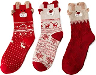 Calcetines de Navidad (3 pares, diseño con motivos navideños)