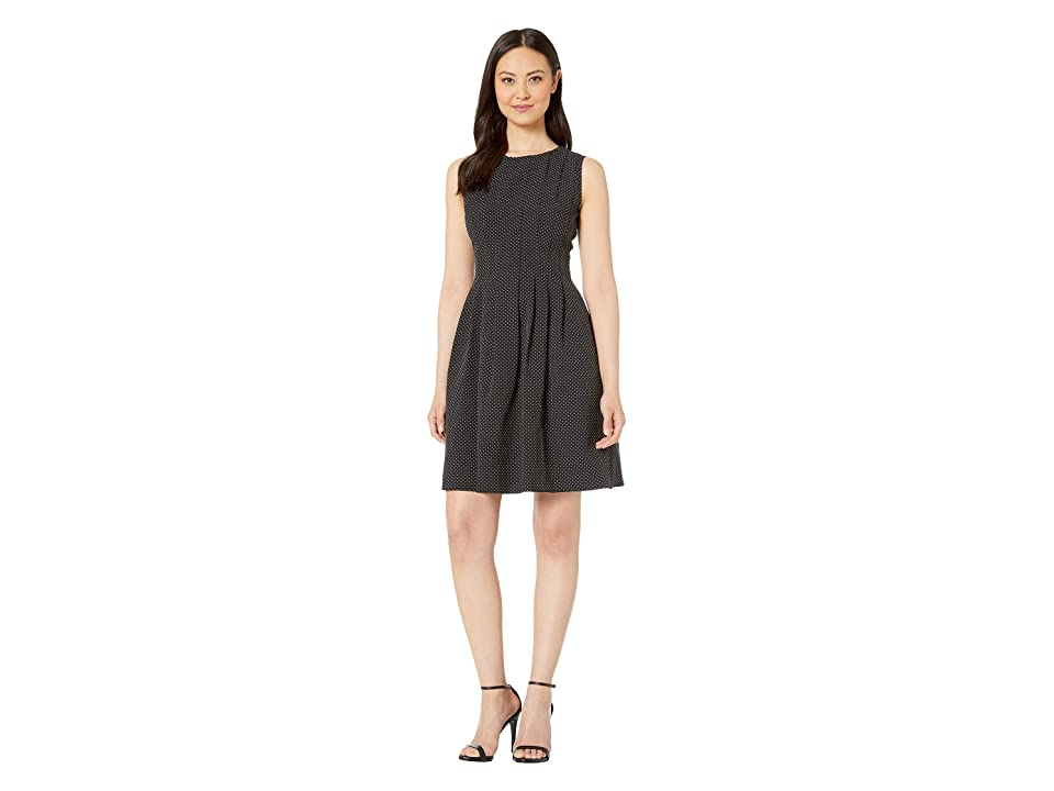 Anne Klein Printed Crepe Vertical Seamed Fit Flare (Anne Black/Anne White) Women