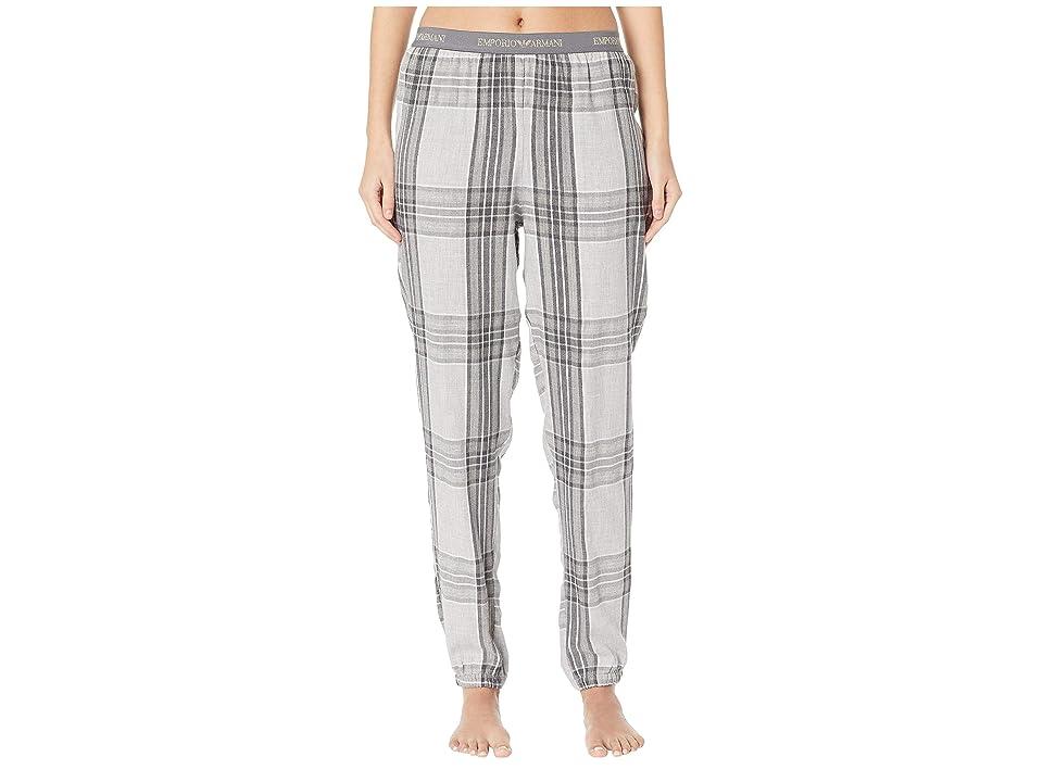 Emporio Armani Tartan Flannel Pajama Bottoms (Grey Tartan) Women