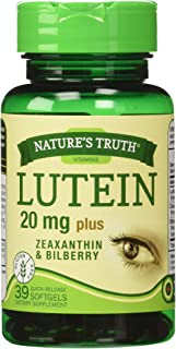 Nature's Truth Lutein 20 mg Plus Zeaxanthin and Bilberry Capsules, 39 Count