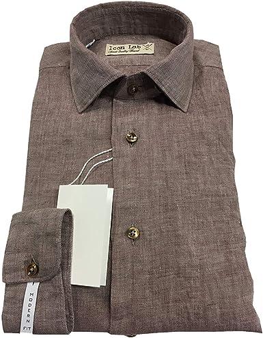 ICON LAB 1961 Camisa de Hombre Marrón Oscuro Lavado Manga ...