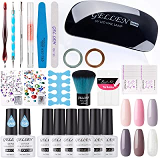 Gellen Gel Nail Polish Starter Kit With Nail Light- Selected 6 Colors With Top Base Coats Rhinestones Nail Art Designs Manicure Tools For Travel Home, Peach Pink Browns