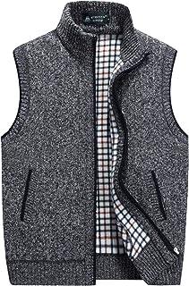 Flygo Men's Stand Collar Zipper Sweater Vest Knitted Sleeveless Jacket Cardigan