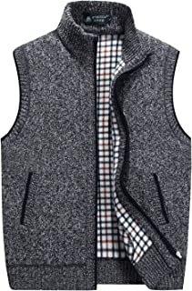Men's Casual Stand Collar Zip Sleeveless Knitted Cardigan Sweater Vest Jacket Outerwear