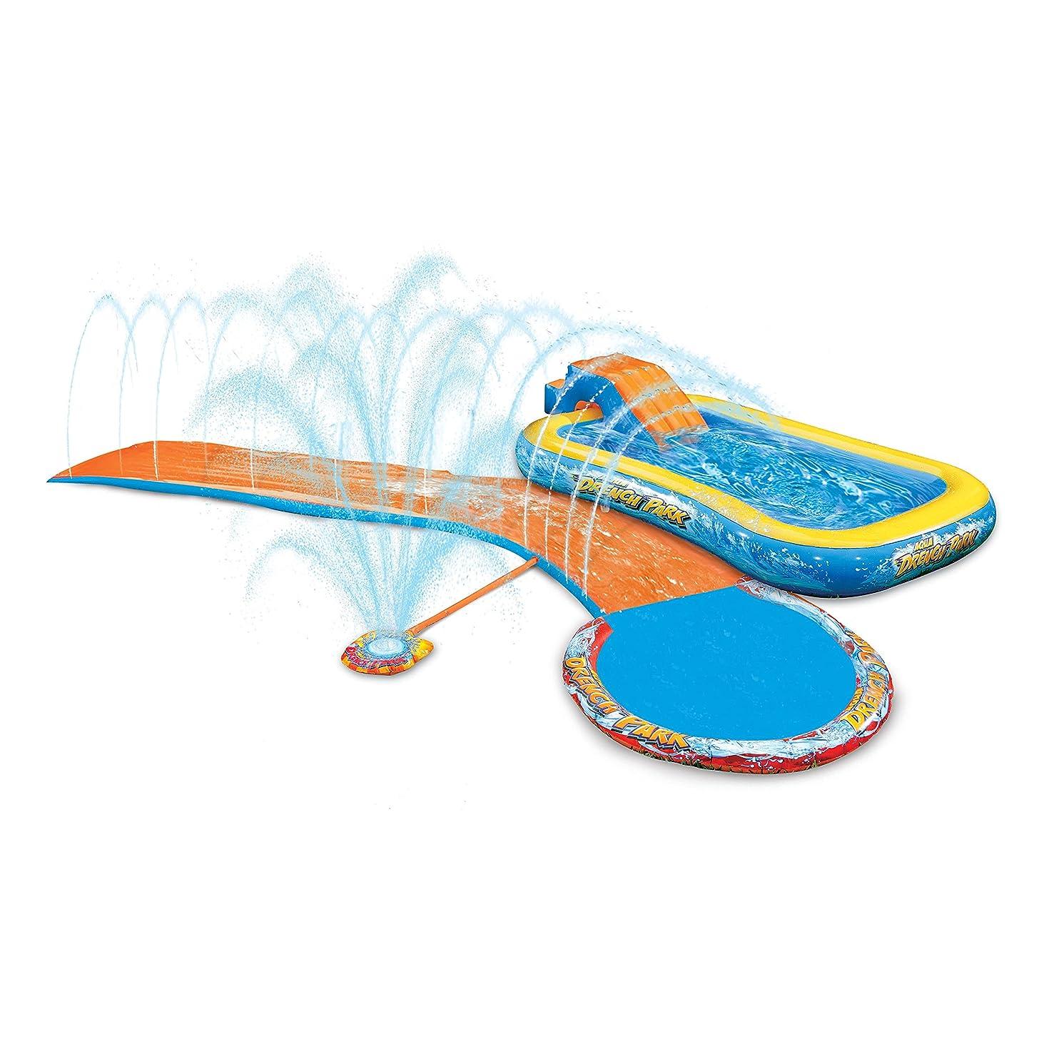 Banzai Inflatable Aqua Drench 3-in-1 Splash Park (Sprinkler, Slide and Pool)