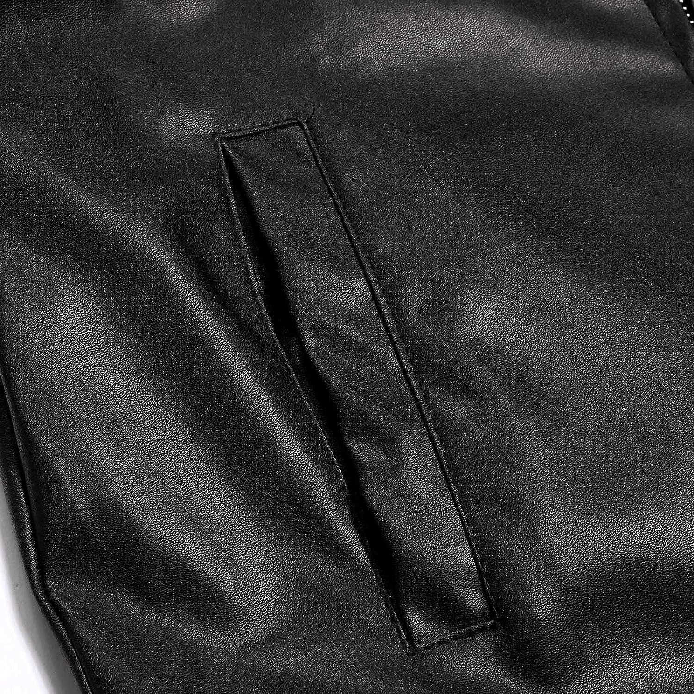 Yhjh Men's Slim Zipper Leather Jacket Stand Collar Zipper Pockets Long Sleeve Slim Fit Fashion Faux Jacket Motorcycle Coat