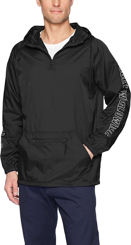 Obey Men's Worldwide Outline Hooded Nylon Anorak Jacket