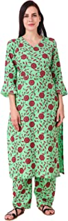 MEVE Readymade 2 Piece Matching Pure Printed Cotton Green Kurta and Palazzo Set for Women