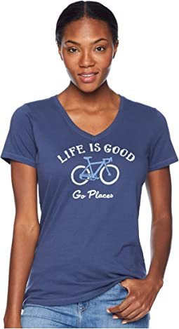 Go Places Bike Crusher Vee T-Shirt