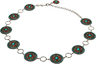 Women's Multi-Color Concho Link Belt