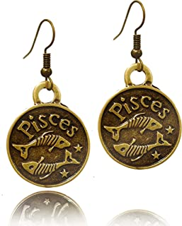 STAYCALM 12 Zodiac Earring Great Bronze Color Triangle Dangle Fantasy Earrings Dangling Steampunk Charms Fashion Inspired ...