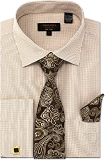 Men's Regular Fit Dress Shirts with Tie Hanky Cufflinks Set Combo French Cuffs Checks Plaid Pattern