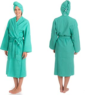 Bathrobe and Attached Hair Turban Fast Drying Comfy Towel Robe and Hair Wrap