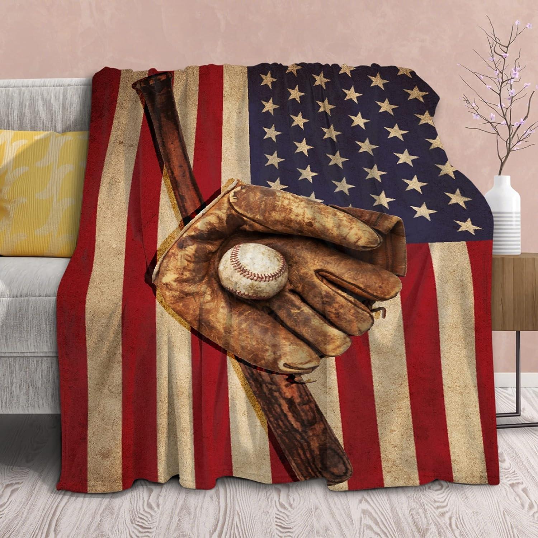 Blanket American Flag Baseball Throws Super popular specialty store Lightweight Popular Printed Glove