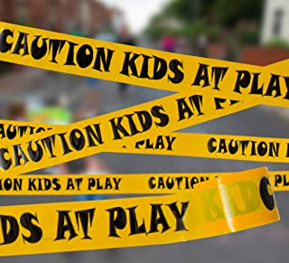 """Caution Kids at Play! Party Tape 3"""" x 300` • Bright Yellow & Bold Black Print Barricade Tape • Tear Resistant Design • Ide..."""