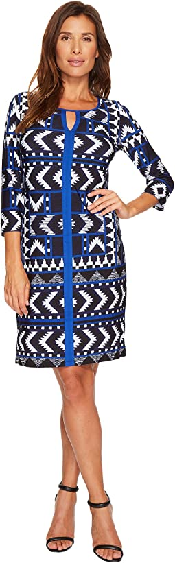 Long Sleeve Printed Lined Dress