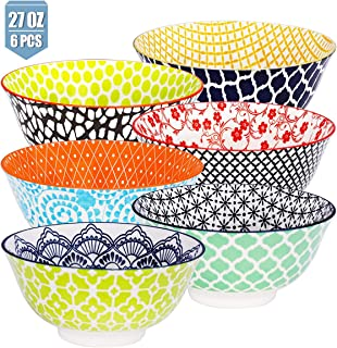 E-Gtong 27OZ Hand-Painted Large Cereal Bowls Set of 6, Multicolor Porcelain Ceramic Soup Bowls Colorful Fun Cereal Bowls for Pasta, Soup, Salad and Rice, Microwave & Dishwasher Safe