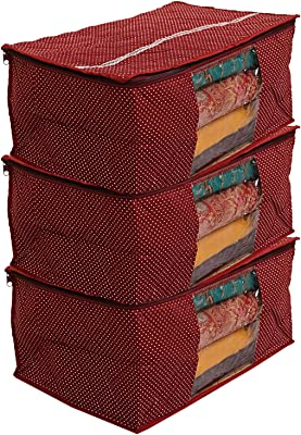 Kuber Industries Hathkadi 3 Piece Cotton Saree Cover, Maroon