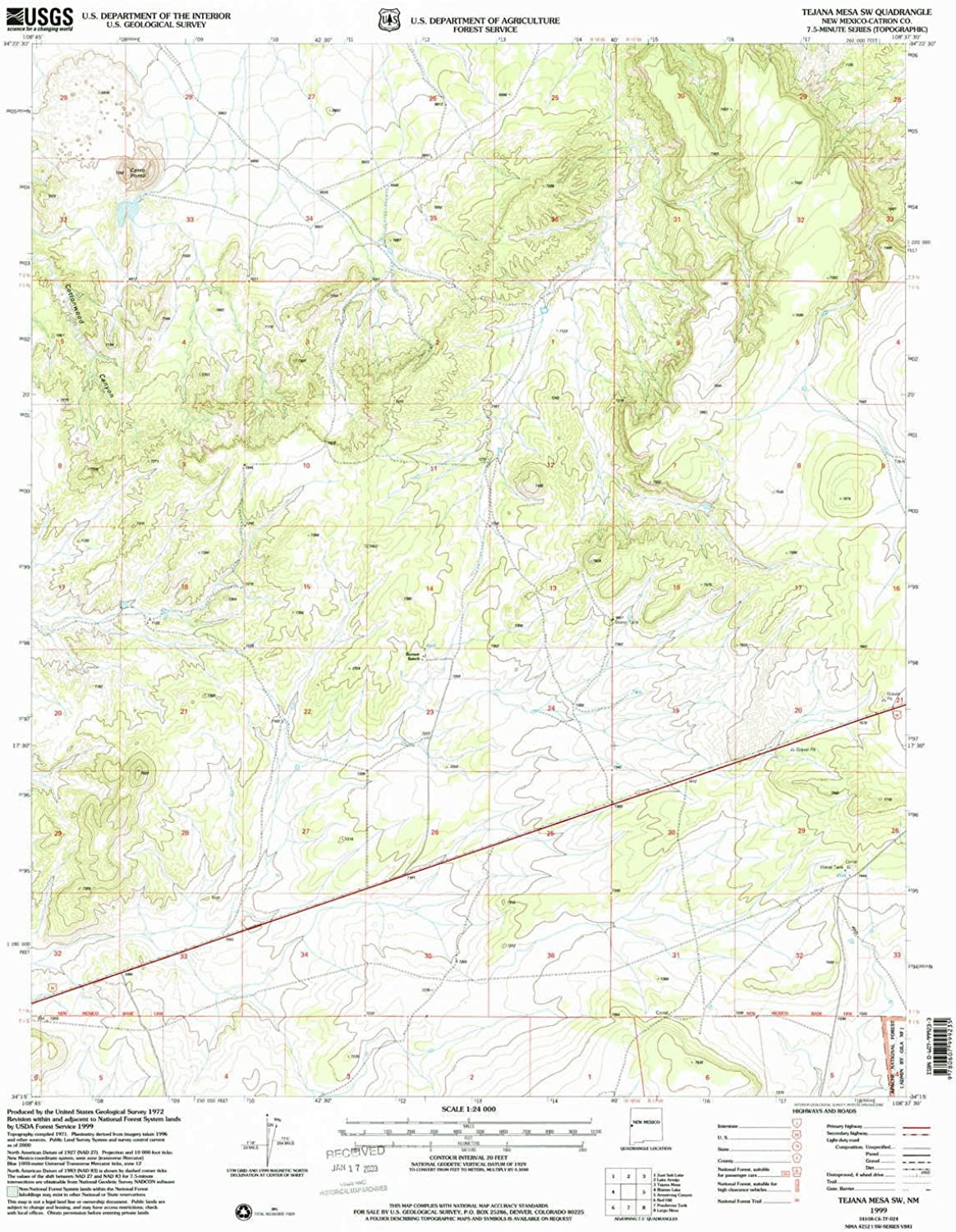 Tejana Mesa SW NM topo map, 1 24000 Scale, 7.5 X 7.5 Minute, Historical, 1999, Updated 2002, 27 x 22 in