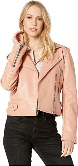 Vegan Leather Moto Jacket in Dusty Coral