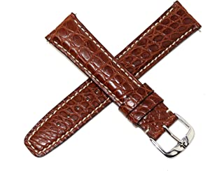 Jacques Lemans 21MM Brown Genuine Alligator Leather Skin Watch Strap Band with Silver Tone JL Initial Stainless Steel Buckle