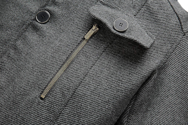 Wantdo Mens Wool Blend Jacket Stand Collar Windproof Pea Coat