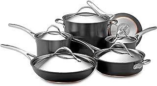 Anolon 82835 Nouvelle Copper Hard Anodized Nonstick Cookware Pots and Pans Set, 11 Piece, Dark Gray