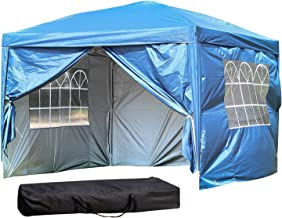 10 x10 ft Outdoor Party Tent with Removable Sidewalls EZ Easy Pop Up with Carrying Case/Bag Portable Adjustable Folding Canopy Gazebo Pavilion Wedding Patio Shelter (10' x 10' with 4 Sidewalls, Blue)
