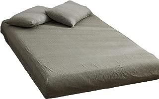 ボックスシーツ シングル マットレスカバー オーガニックコットン洗いざらしの綿100% マチ部分約30cm ベッドシーツ ベットカバー 洋式・和式兼用 防ダニ (グレー, 100x200x30cm)