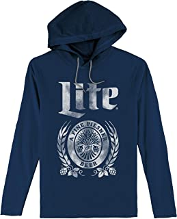 Tee Luv Miller Lite Hooded Tee Shirt - Long Sleeve Hooded Miller Beer Shirt