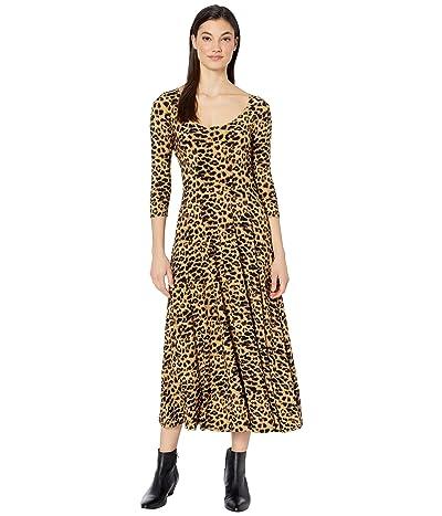 KAMALIKULTURE by Norma Kamali Long Sleeve Reversible Scoop Neck Flared Dress (Golden Leopard) Women