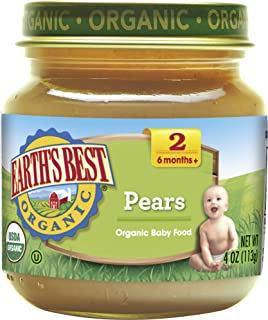 Earth's Best Organic Stage 2 Baby Food, Pears, 4 Ounce Jars, Pack of 12