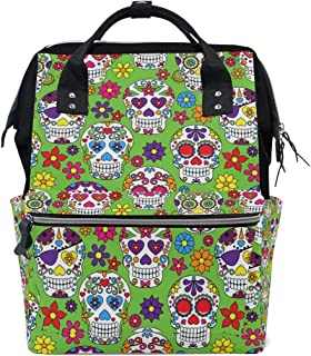 MAPOLO Day of The Dead Sugar Skull Diaper Backpack Large Capacity Baby Bag Multi-Function Nappy Bags Travel Mom Backpack for Baby Care