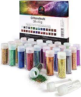 OfficeTree 28 Paillettes Loisirs Creatifs Multicolore à 10 g - Glitter Tube avec Fonction d'étalement Fin et Grossier - Pa...