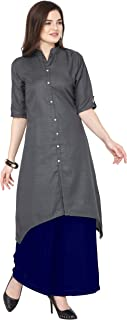 Florence Grey Slub Cotton Embellished Stitched Kurtis with Palazzo(FL-KT-130-PZ-03)