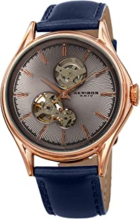 Akribos Skeletnized Automatic Mechanical Men's Watch – Genuine Leather Strap – Wristwatch See Through Dial - Guilloche Dial with Exposed Circle Cut-Outs - AK1057