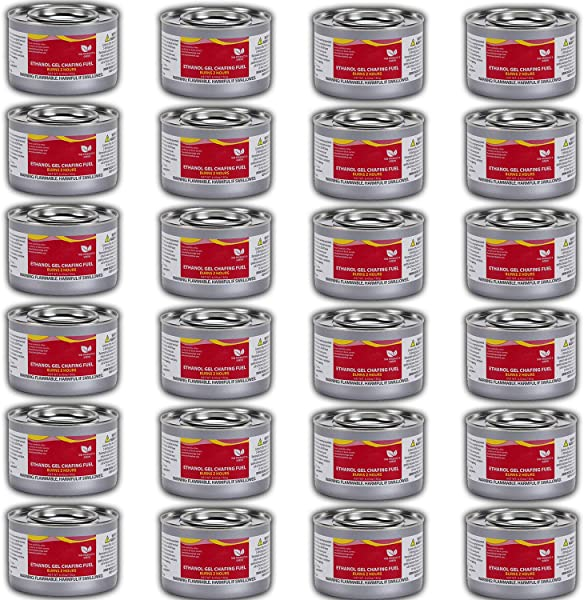 Chafing Dish Fuel Cans Includes 24 Ethanol Gel Chafing Fuels Burns For 2 Hours 6 43 OZ For Your Cooking Food Warming Buffet And Parties