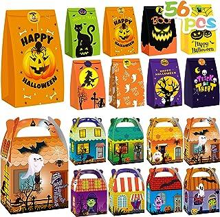 Halloween Treats Bags Party Favors - 56 Pcs Kids Halloween Candy Bags& Boxes Set - Incl 16 Candy Boxes and 40 Goodie Paper...