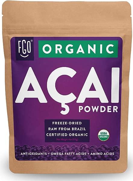 Organic ACAI Powder Freeze Dried 4oz Resealable Bag 100 Raw Antioxidant Superfood Berry From Brazil By Feel Good Organics