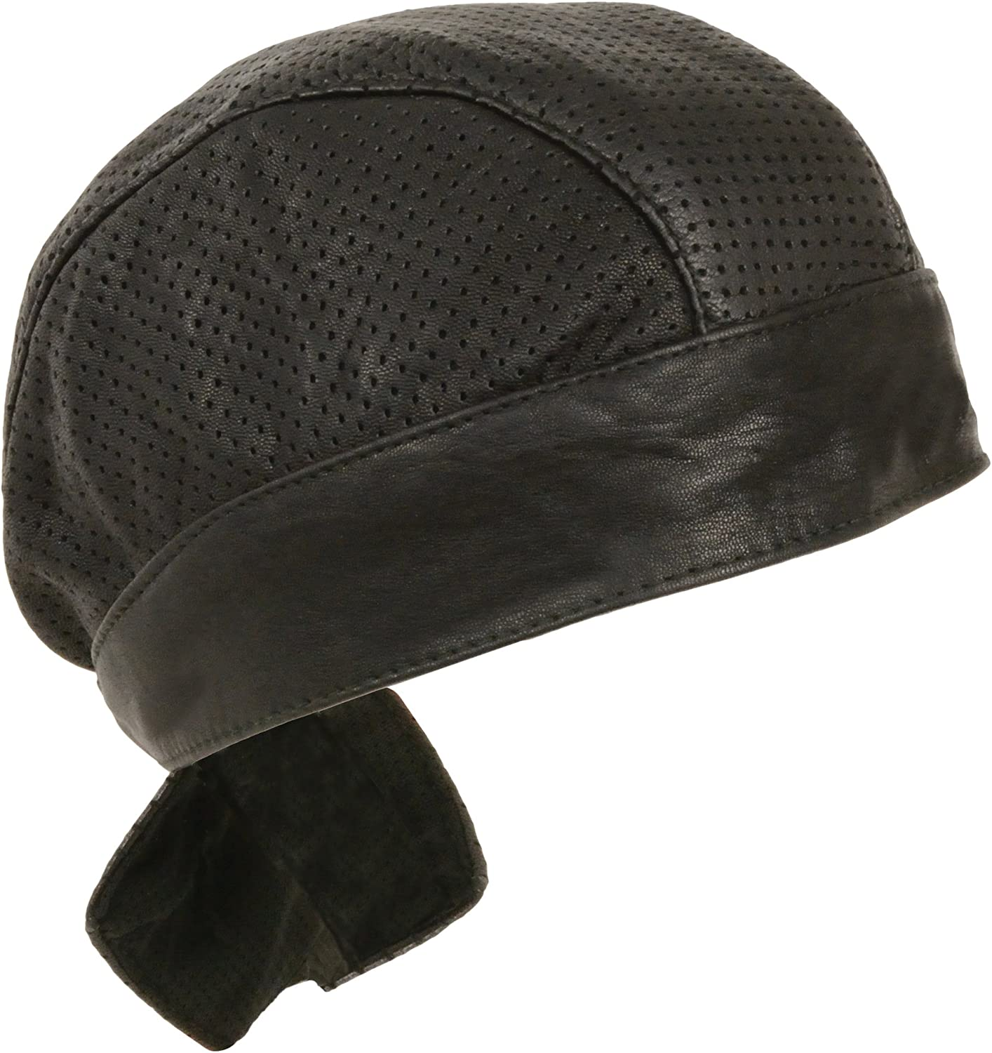 Amazon Com Unisex Leather Skull Cap Solid And Perforated Versions Black Perforated Automotive