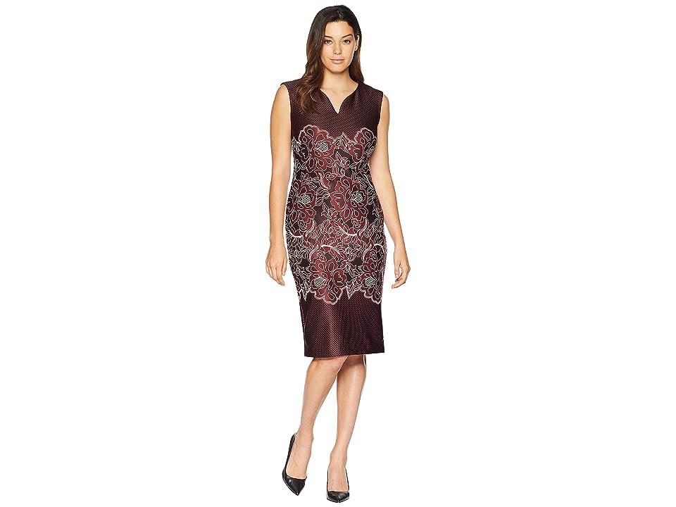 eci Sleeveless Puff Printed Scuba Sheath Dress (Black/Wine) Women