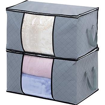 アストロ ふとん収納袋 2個組 グレー 不織布 活性炭消臭 大容量 171-50